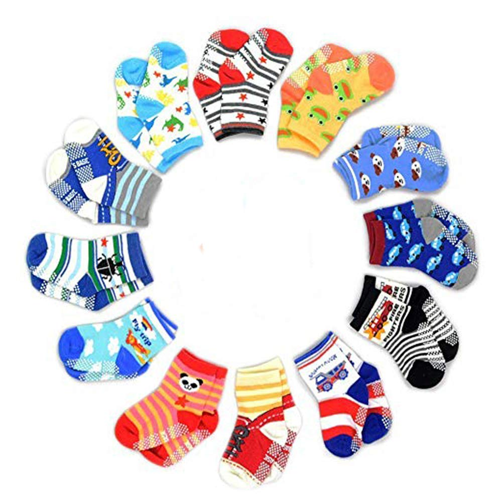 12 Pairs Toddler Boy Girl Socks Non Skid Slipper Socks Grips 1-3 Or 4-7 Years Old Baby