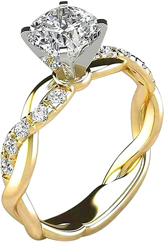 Amazon Com Wocoo Women Ring Bridal Cubic Zirconia Diamond