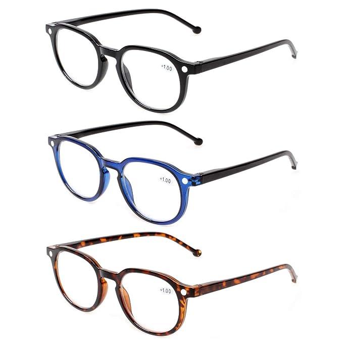 ba1ec7b19f Lote de 3 pares de anteojos de lectura con bisagras de resorte redondas y  de gran