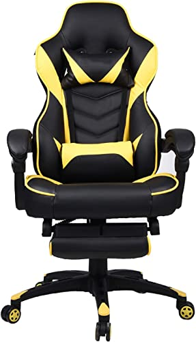 Office Racing Video Gaming Chair Executive Swivel PU Leather Seat High Back Chair Footrest Lumbar Support Headrest Yellow