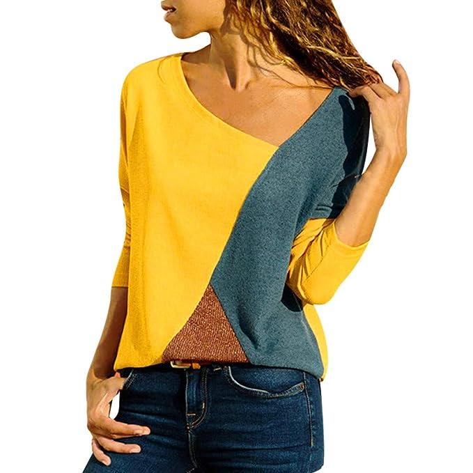 bc315755ca6df Costura Color De Contraste Cuello Redondo Manga Larga Camiseta Mujer ...