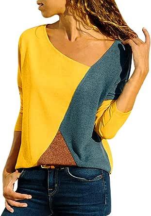 Camiseta de Mujer,Patchwork Moda Cuello Redondo Manga Larga Camiseta Mujer Top Mujer Camisas Mujer Verano Elegantes Casual Blusa Camisa T-Shirt vpass