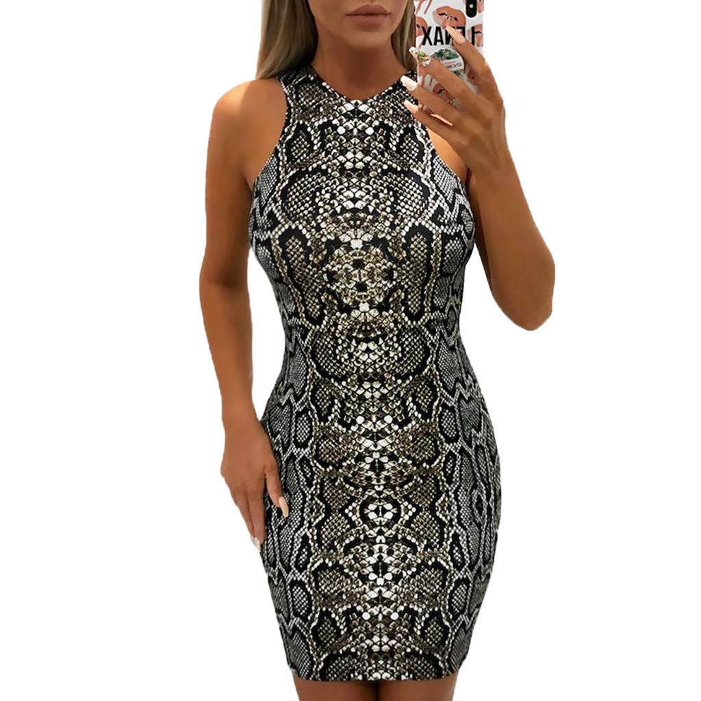 Alangbudu Women's Sexy High Neck Halter Snake Print Cut Out Bodycon Slimming Clubwear Midi Dress Black