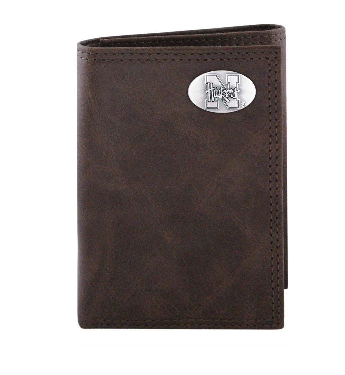 NCAA Nebraska Cornhuskers Brown Wrinkle Leather Trifold Concho Wallet, One Size
