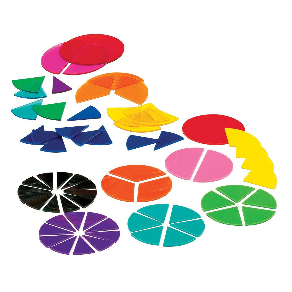 hand2mind Plastic, Rainbow, Fraction Circles, Bulk Math Manipulative Kit for the Classroom (15 Sets of 51 Tiles)
