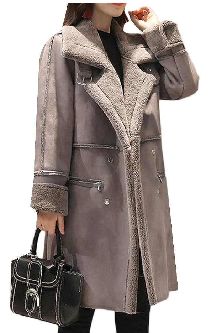 1 pujinggeCA Womens Winter Fleece Casual Suede Thicken Overcoat Peacoat Trench Coat