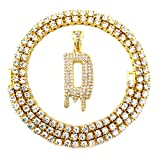 HH Bling Empire Iced Out Hip Hop Gold Faux Diamond Bubble Dripping Letter Tennis Chain Necklace 20 Inch (Dripping Letter D)