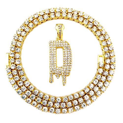 Iced Out Gold Chains - HH Bling Empire Iced Out Hip Hop Gold Faux Diamond Bubble Dripping Letter Tennis Chain Necklace 20 Inch (Dripping Letter D)