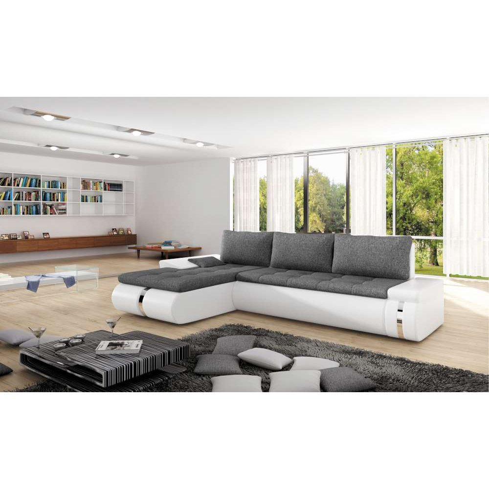 justhome fado mini ecksofa polsterecke schlafsofa ecoleder strukturstoff bxlxh 182x258x84 cm. Black Bedroom Furniture Sets. Home Design Ideas