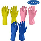 Primeway® LW1_3As Medium Just Gloves Natural Rubber Flock Lined Hand Gloves Set, Pack of 3 Pairs (Multicolor)