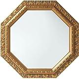 ぼん家具 鏡 壁掛け 八角形 ミラー アンティーク調 515×515mm 飛散防止加工 卓上 かがみ ゴールド