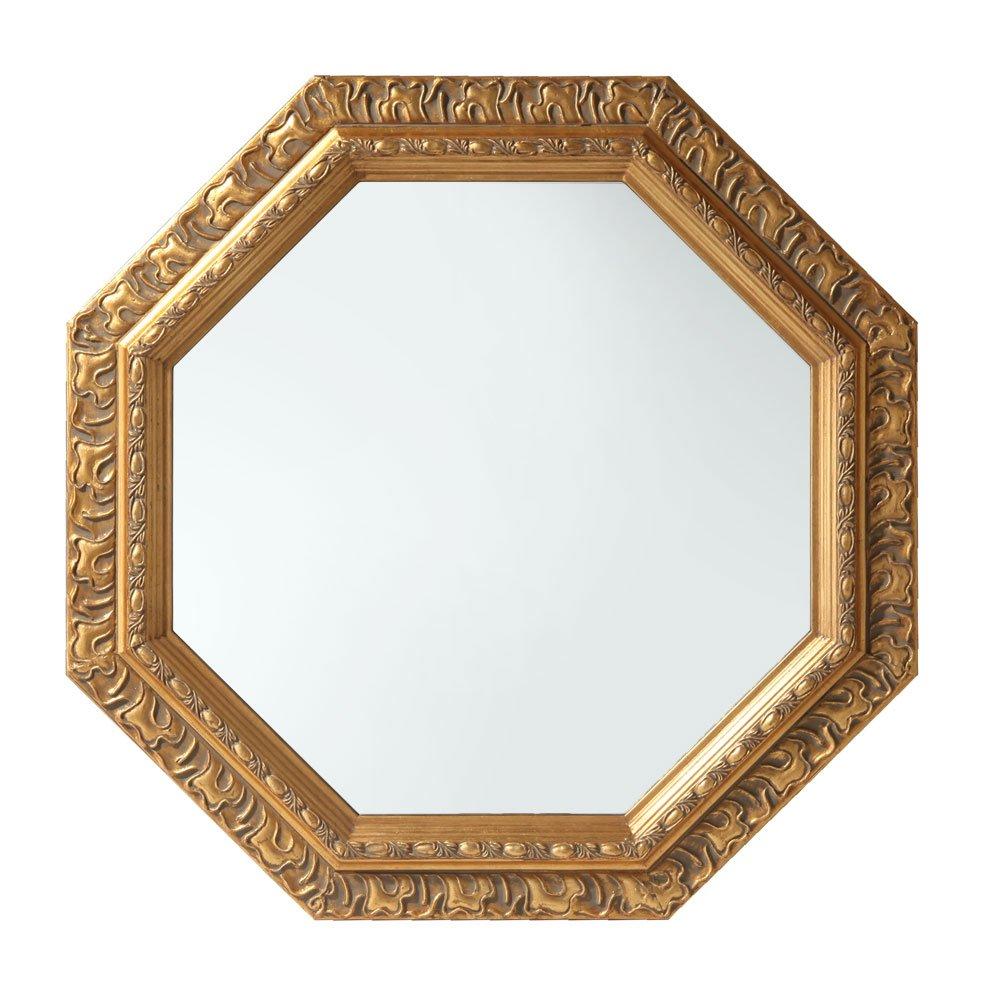 ハンドメイド 八角形 ミラー アンティーク調 壁掛け 卓上 飛散防止 鏡 かがみ かわいい ゴールド B00UYSYGNA