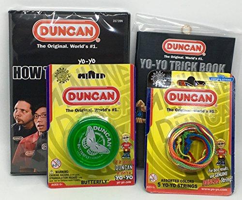 Duncan Beginner YoYo Kit (4 Items) - Green Butterfly Yo-Yo, Multi-Color Yo-Yo String 5 Pack, Yo-Yo Trick Book, and How to Be A Yo-Yo Ninja DVD
