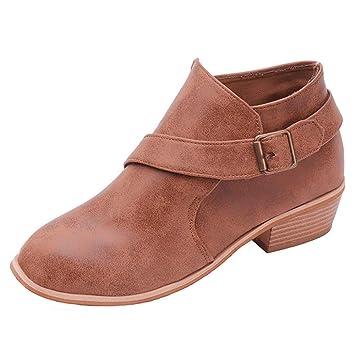 Mujer zapatos planos hebilla de correa,Sonnena ❤ Zapatos de punta redonda para mujer Botines de color puro con correa de hebilla Zapatos cuadrados de ...