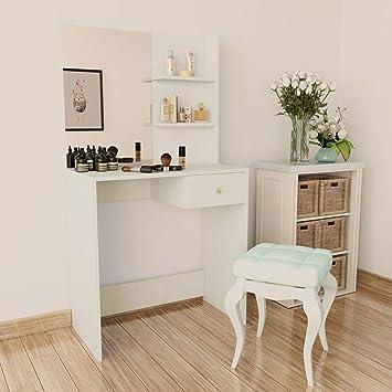 Festnight Coiffeuse Table De Maquillage Avec Miroir Aggloméré 75 X 40 X 141  Cm Blanc/