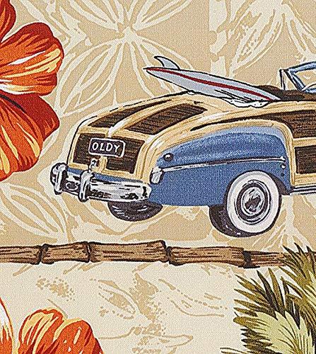(Vintage Style Hawaiian Print Upholstery Fabric by The Yard)