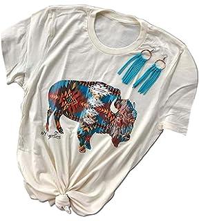caeb2e980 Amazon.com: GEMLON Women's Spring Summer Shirts Pancho Lefty Country ...