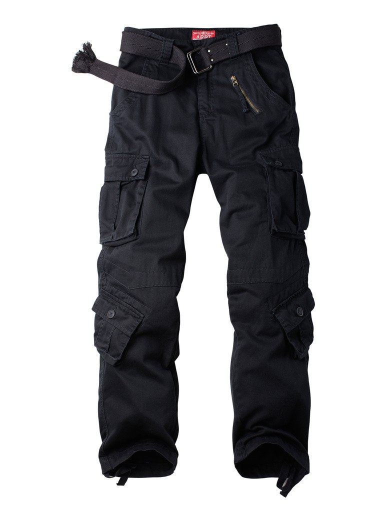 Must Way Men's Cotton Casual Military Army Cargo Camo Combat Work Pants With 8 Pocket Black 34