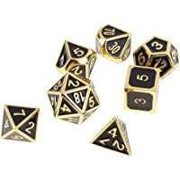 MagiDeal 7 Pieces Zinc Alloy Enamel Multi Sided Dices Set for Dungeons and Dragons RPG Board Game Accessory Golden