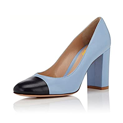 Women Closed Toe Block Chunky Heels Pumps Versatile Slip On Black Dress Shoes Size 4-15 US