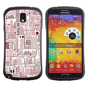 """Pulsar iFace Series Tpu silicona Carcasa Funda Case para Samsung Note 3 , Periódico Anuncios Tinta Roja Impresión escribir cartas"""""""