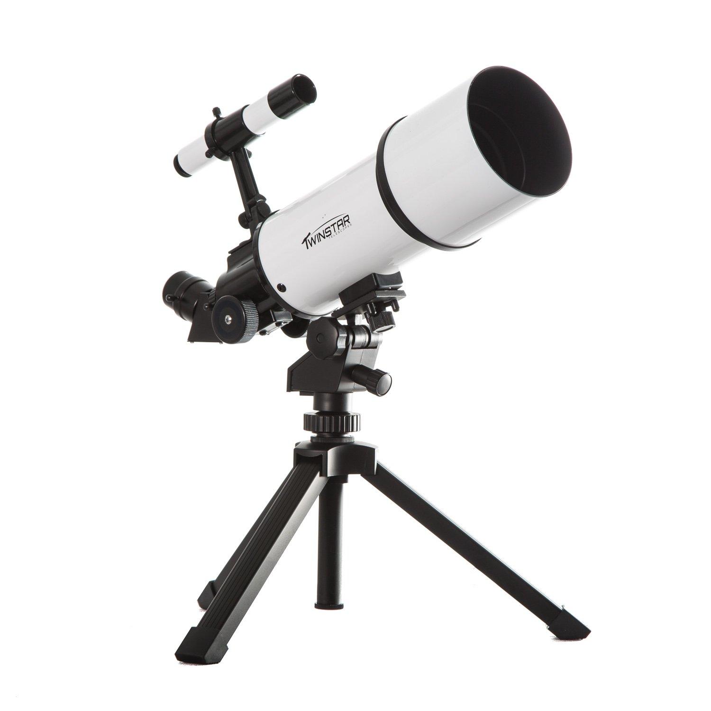 White TwinStar AstroMark 80mm 16-40x Power Portable Refractor Telescope by Twin Star