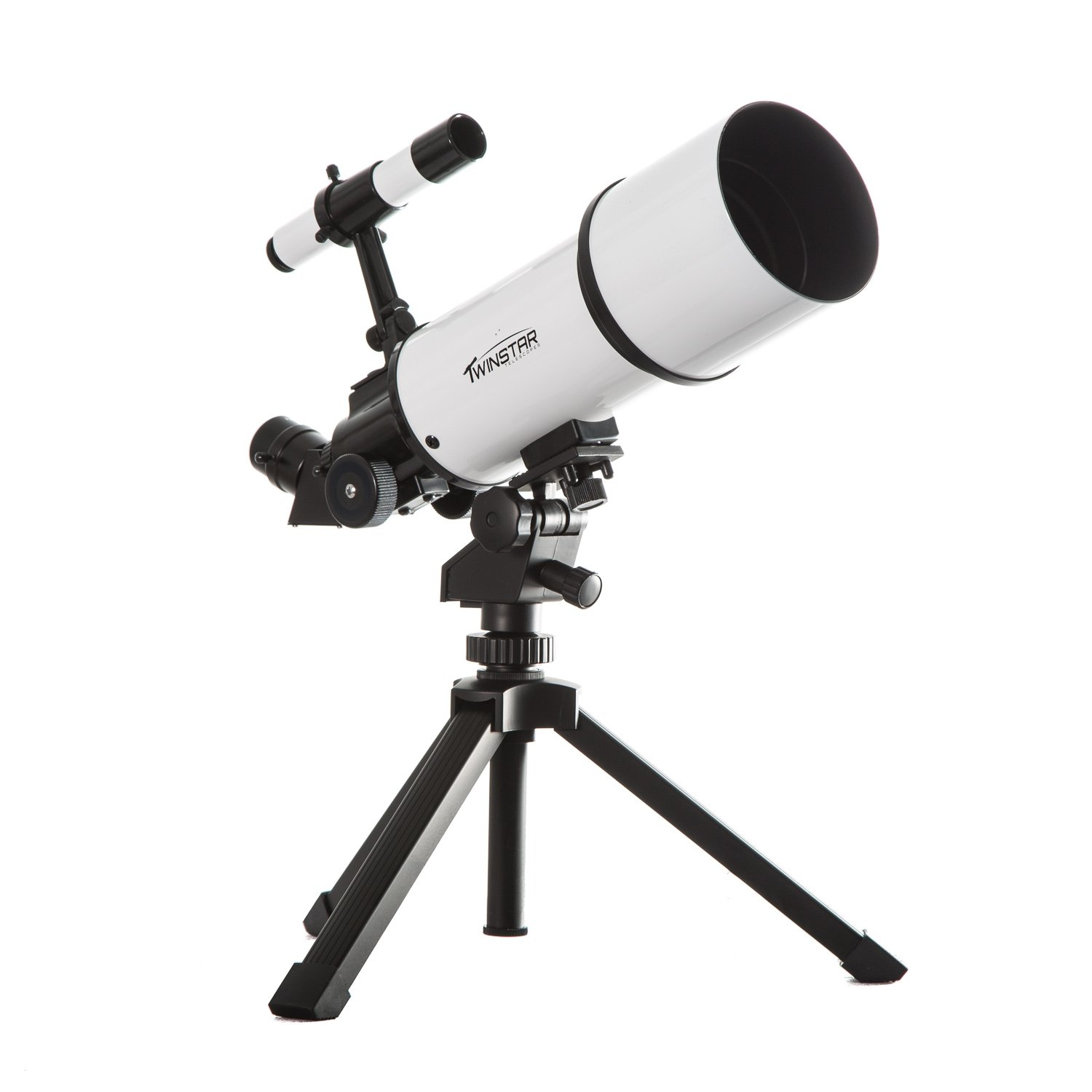 White TwinStar AstroMark 80mm 16-40x Portable Refractor Telescope Kids Pak Bundle