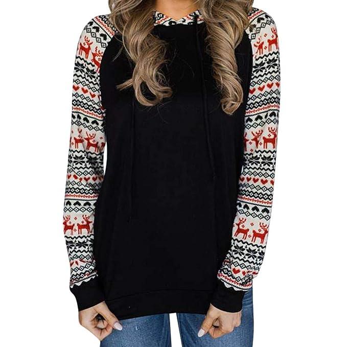 UK Donna V-Neck manica lunga Felpe con Cappuccio da Donna T Shirt Pullover Tops piccolo A Xl