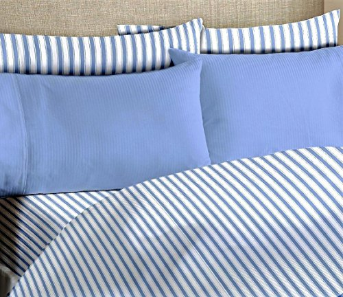 Egyptian Comfort Bamboo Blend Pin Stripe Wrinkle Free 6-Piece Bed Sheet Set, Baby Blue, King/California King.Include Gel Eye Mask $13.99 value. - Egyptian Cotton Stripes Bed Pillow