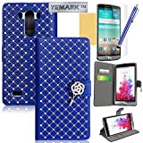 LG G3 Case,LG G3 Wallet Case,YEMARK(TM) Handmade Bling Crystal Glitter Rhinestone Diamond Flower Pendant Premium PU Leather Wallet Flip Case Cover with Stand For LG G3[Built-in Credit Card/ID Card Slots],[+Stylus+Screen Protector+Cleaning Cloth]-(Blue)