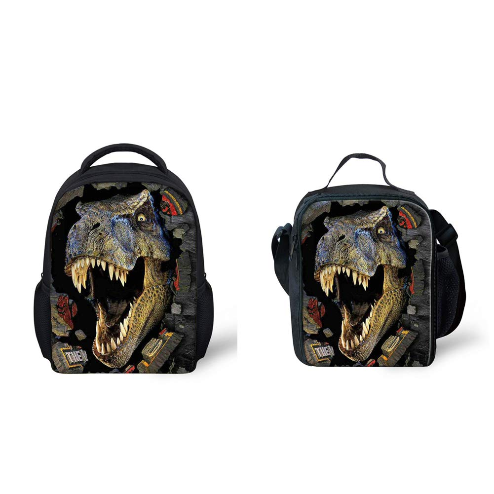 04dc0ae7fc44 Amazon.com  Coloranimal Cool 3D Dinosaur Printed Kids School Small Backpack+Lunch  Bag  Toys   Games
