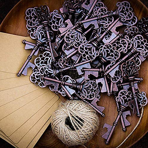 (Openers - Wedding Favors Rustic Vintage Key Bottle Opener With Escort Card Tag And Twine 50 Pcs - Vase Bottle Poker Gift Placers Decor Open Beer Corkscrew Place Plastic Ecosport Wedding Pl)