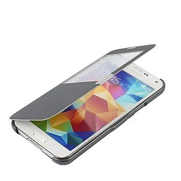 MTRONX para Funda Samsung Galaxy S5, Cover Carcasa Case Caso Ventana Vista Ultra Folio Flip Twill Tela Asargada PU Cuero Delgado Piel con Cierre ...