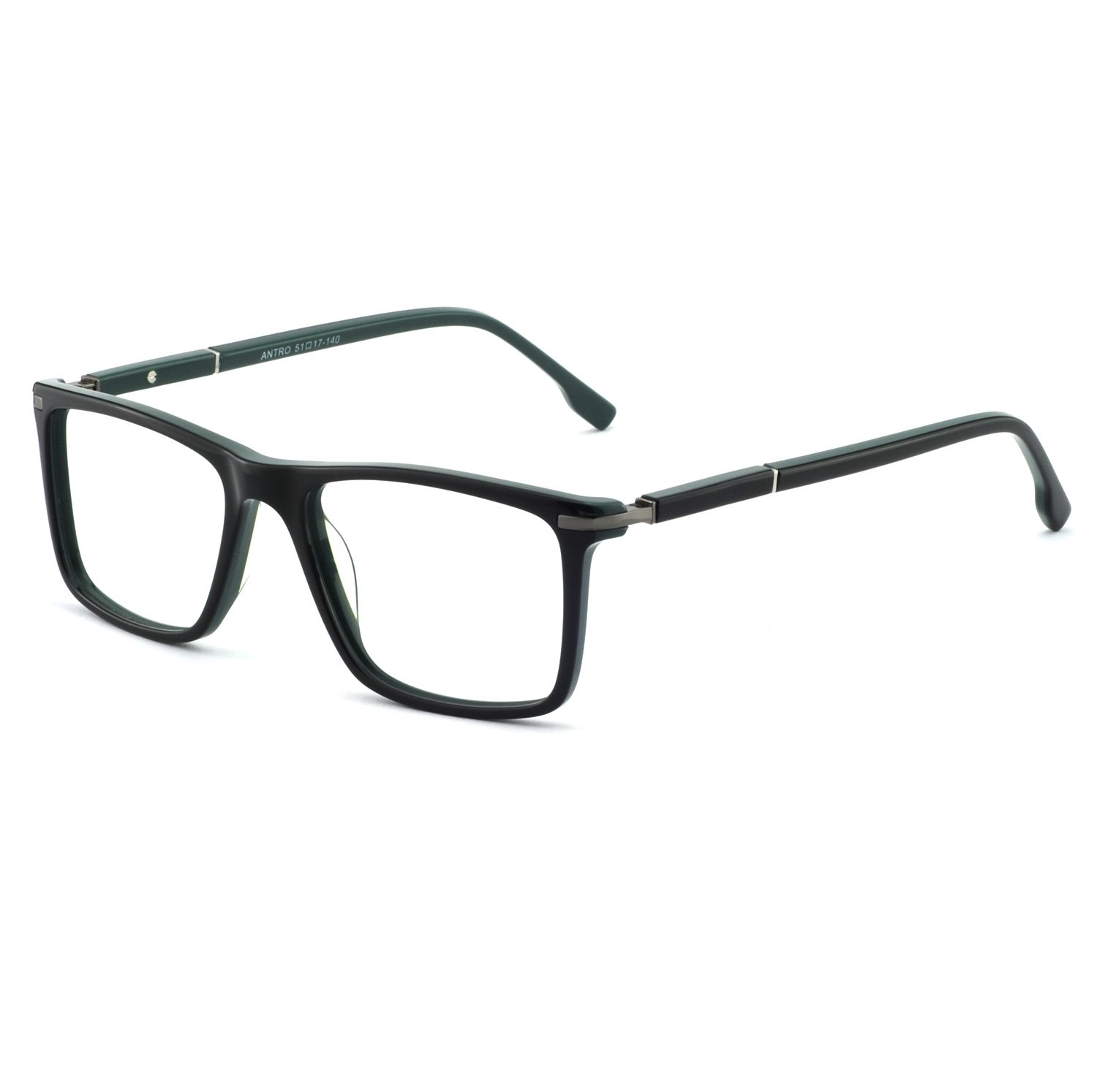 OCCI CHIARI Mens Rectangle Fashion Stylish Acetate Eyewear Frame with Clear Lens 51mm (Black/Green,51) by OCCI CHIARI