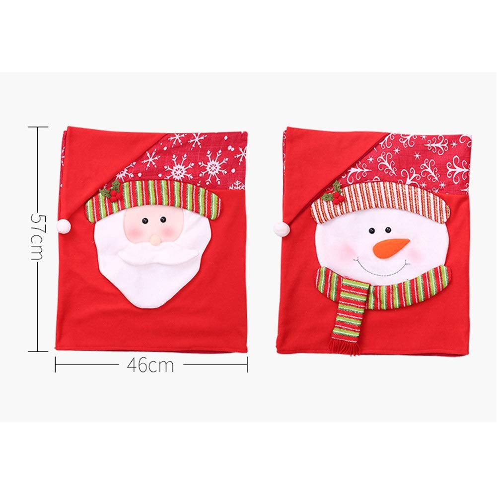 Mr Mrs.Santa Chair Slipcover Suit Snowman Snowflakes Chair Back Cover Kitchen Dining Room Hotel Xmas Holiday Party Decor Stock Show Christmas Chair Covers Set of 2