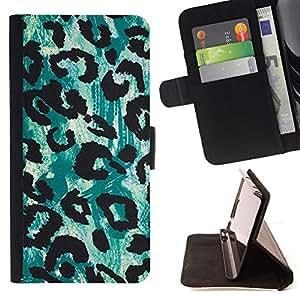 BullDog Case - FOR/Samsung Galaxy S4 IV I9500 / - / leopard green black pattern fur /- Monedero de cuero de la PU Llevar cubierta de la caja con el ID Credit Card Slots Flip funda de cuer
