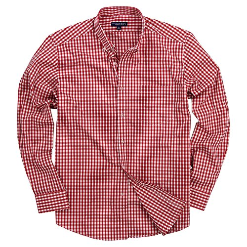Men's Long Sleeve Button Down Stretch Fit Gingham Plaid Shirt(Red/White Plaid, X-Large) ()