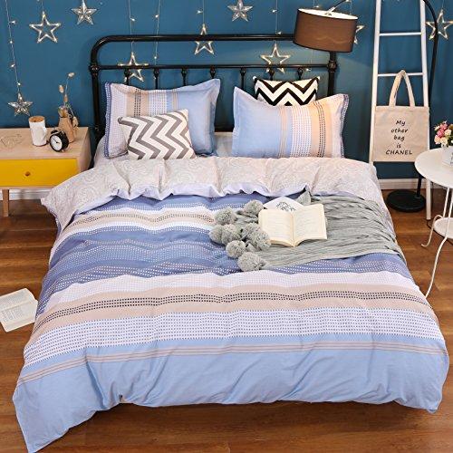 Reversible Single Duvet - UniTendo Concise Stripe 2 Piece Set Single Size 100% Cotton 200 Threads Duvet Cover and Pillowcase Reversible Duvet Cover Set, Duvet Cover + 1 Pillow Shams(No comforter),Blue, Twin