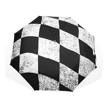 GUKENQ Paraguas de Viaje Bandera de Cuadros Negros y Blancos a Cuadros, Ligero, Anti