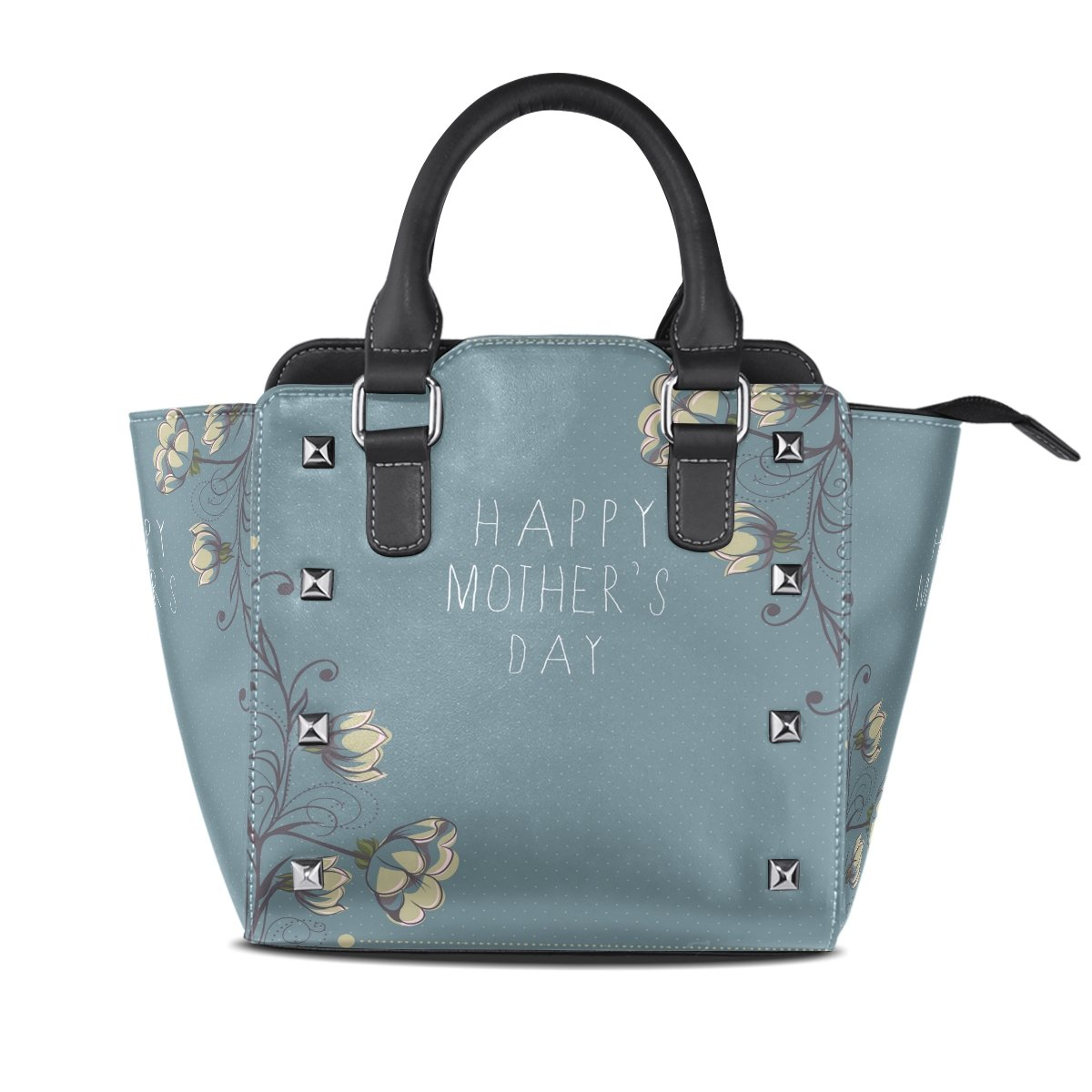 Womens Genuine Leather Hangbags Tote Bags bluee Flowers Purse Shoulder Bags