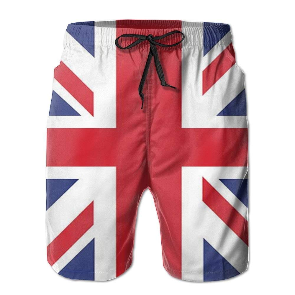 British Flag Men Boardshorts Summer Swim Trunks Qucik Dry Fit Plus Size M-2XL