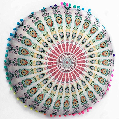 Kimloog 17'' Mandala Round Throw Pillow Case Indian Bohemian Ottoman Poufs Decorative Cushion Covers (D)
