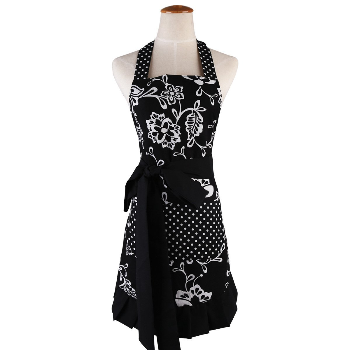 """Qureal Aprons for Women Plus Size Retro Vintage Cute Black Aprons With Two Pockets&Extra-long Tie,Kitchen Aprons for Baking Cooking Gardening 29 x 21"""" (black)"""