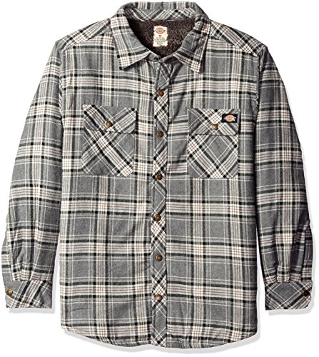 - Dickies Men's Relaxed Fit Sherpa Lined Flannel Overshirt, Charcoal/Black, 3XL