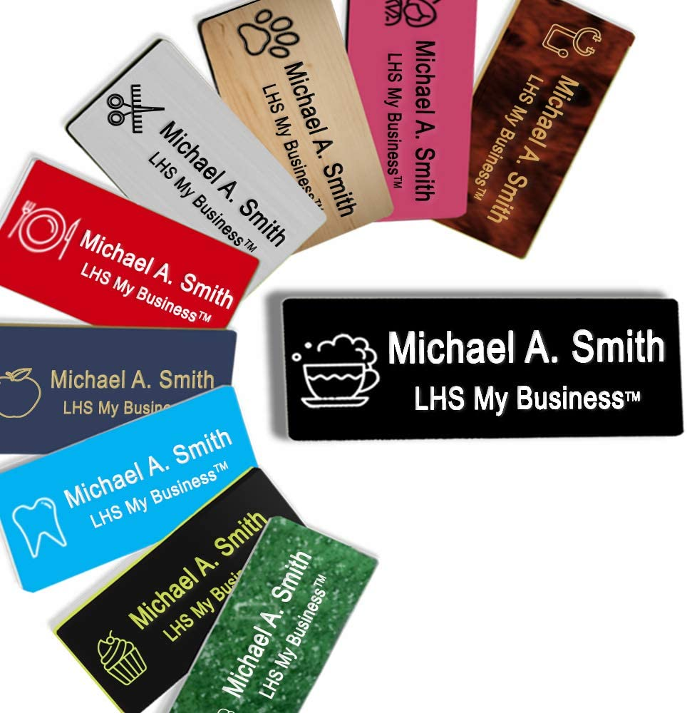LHS My Business | Name Badges Magnetic Backs - Custom Engraved Black Plastic Nametag with White Lettering Personalized - B2