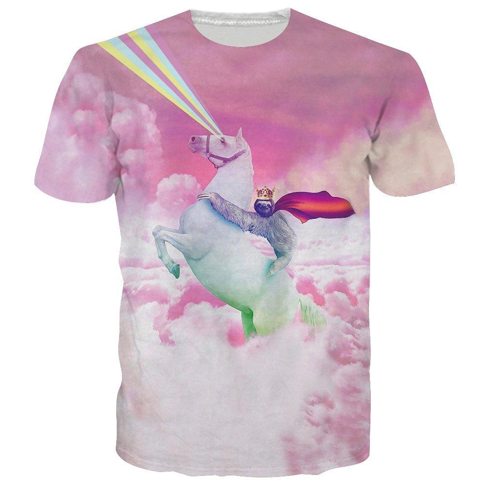 RAISEVERN Unisex Humor Sloth Reiten Flying Horse Gedruckt Hip Hop Neuheit T Shirts Top T - Shirts für Männer