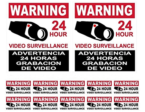 12-Pcs Convincing Unique Warning 24 Hour Video Surveillance Stickers Sign Being Watched 24Hr Business House Neighbor Security Decor Under Cameras Protect Indoor Reflective 2-Large 10-Small - Queens Hours Center