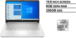 "HP 14"" FHD IPS WLED-Backlit Laptop, 10th Gen Intel Core i3-1005G1 up to 3.4GHz, 8GB DDR4, 256GB PCIe NVMe SSD, 802.11ac, Bluetooth, Backlit Keyboard, HD Webcam, HD Audio, USB 3.1-C, HDMI, Windows 10"