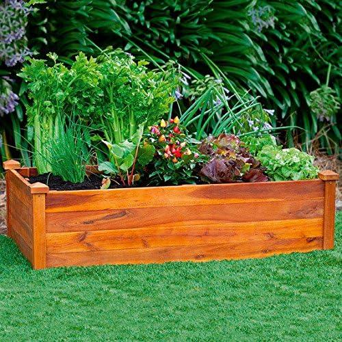 Jardinera de suelo elevado (madera de acacia), diseño clásico ...