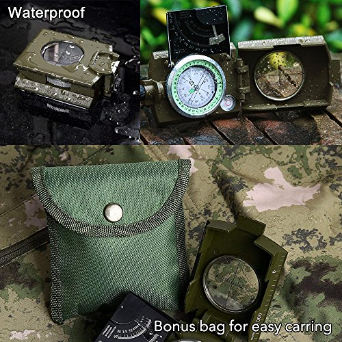 Sportneer Multifunctional Military Lensatic Sighting Compass with Inclinometer and Carrying Bag, Waterproof and Shakeproof, Army Green by Sportneer (Image #5)